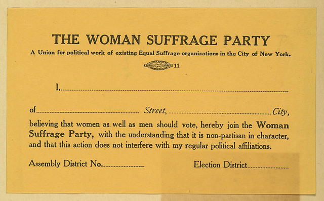 The Woman Suffrage Party membership card