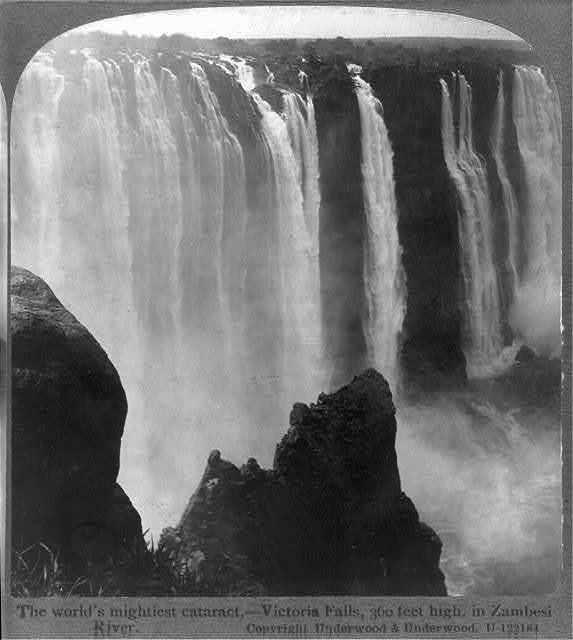 The world's mightiest cataract - Victoria Falls, 360 feet high, in Zambesi River, [Rhodesia]