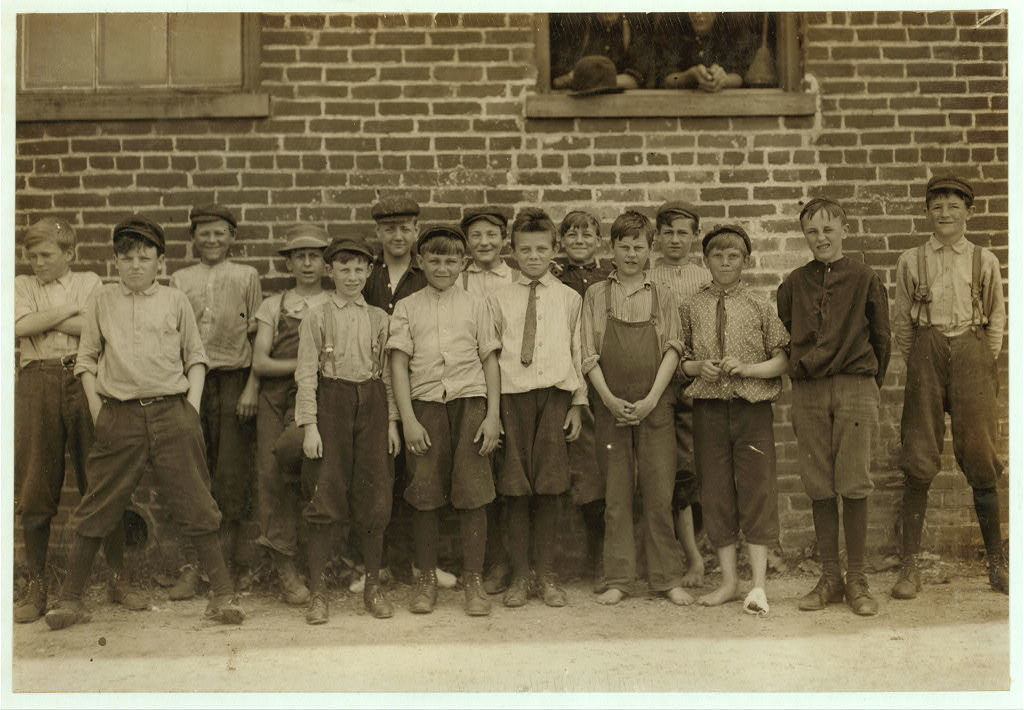 These boys, and others, work in the Chesapeake Knitting Mills, Berkley, Va. See also photos and label 2245 to 2249. Following are some of their names: (the youngest refused to give names). Otto, Lowe, 78 Seaboard Ave. Finishing Room. D. M. Deschields, 25 Phillip St. So, Norfolk, Winding Room. Oscar Weston 1320 Berkley Ave. Totes work. Lonnie Wommack, Hawthorn Ave. So. Norfolk, Winding Room. Jack Harrell, 66 Perry St., So. Norfolk, Finishing Room. Waverley Roseberry, 250 St. James St., So. Norfolk, Winding Room, Charlie McHorney, 4 Poindexter St., So. Norfolk, Winding Room.  Location: Berkley, Virginia.