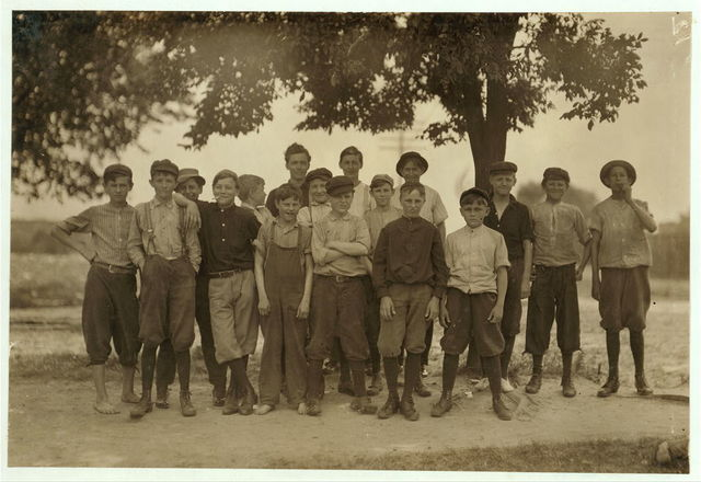 These boys, and others, work in the Chesapeake Knitting Mills, Berkley, Va. See also photos and label 2245 to 2249. Following are some of their names; - (the youngest refused to give names): Otto, Lowe, 78 Seaboard Ave. Finishing Room. D. M. Deschields, 25 Phillip St. So, Norfolk, Winding Room. Oscar Westo[n] 1320 Berkley Ave. Totes work. Lonnie Wommack, Hawthorn Ave. So. Norfolk, Winding Room. Jack Harrell, 66 Perry St., So. Norfolk, Finishing Room. Waverley Roseberry, 250 St. James St., So. Norfolk, Winding Room. Charlie McHorney, 4 Poindexter St., So. Norfolk, Winding Room.  Location: Berkley, Virginia.