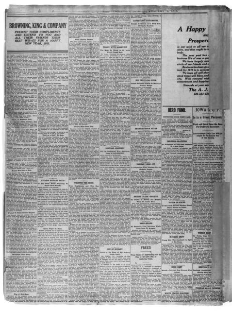 Two Aviators Meet Death Striving for Records [Cincinnati Enquirer, 1 January 1911]