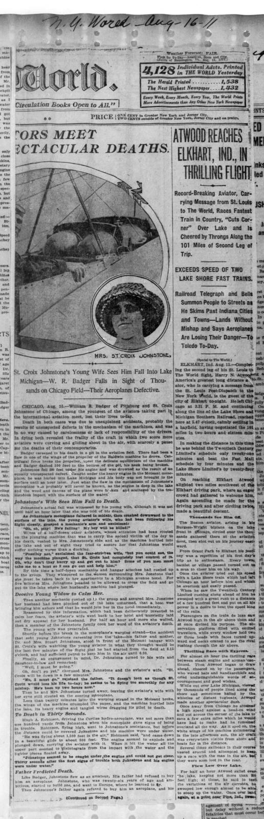 Two Aviators Meet Spectacular Deaths; and Atwood Reaches Elkhart, Ind., in Thrilling Flight [New York World, 16 August 1911]