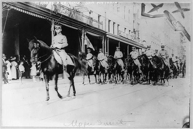 U.S. Army 1911 maneuvers in Texas: troops arriving [on horseback] in San Antonio, March 14th