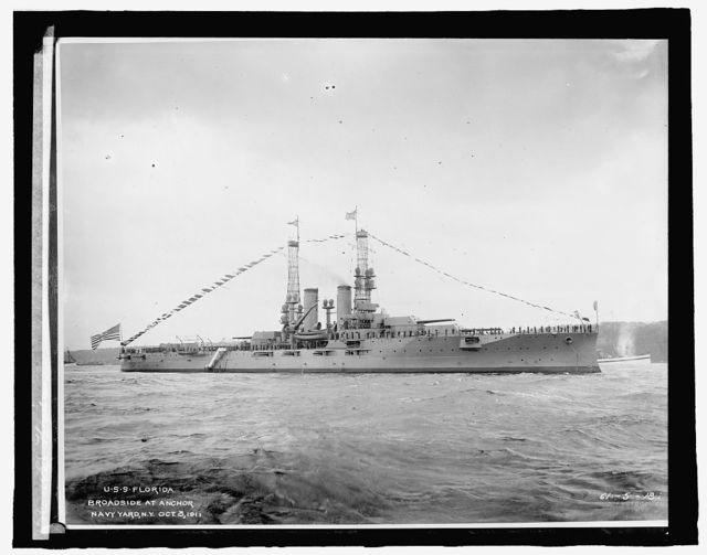 U.S.S. Florida, Broadside at Anchor, Navy Yard, N.Y., Oct. 3, 1911