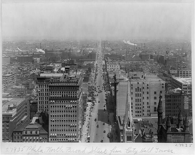 View of Philadelphia, Pa., North Broad Str. from City Hall Tower