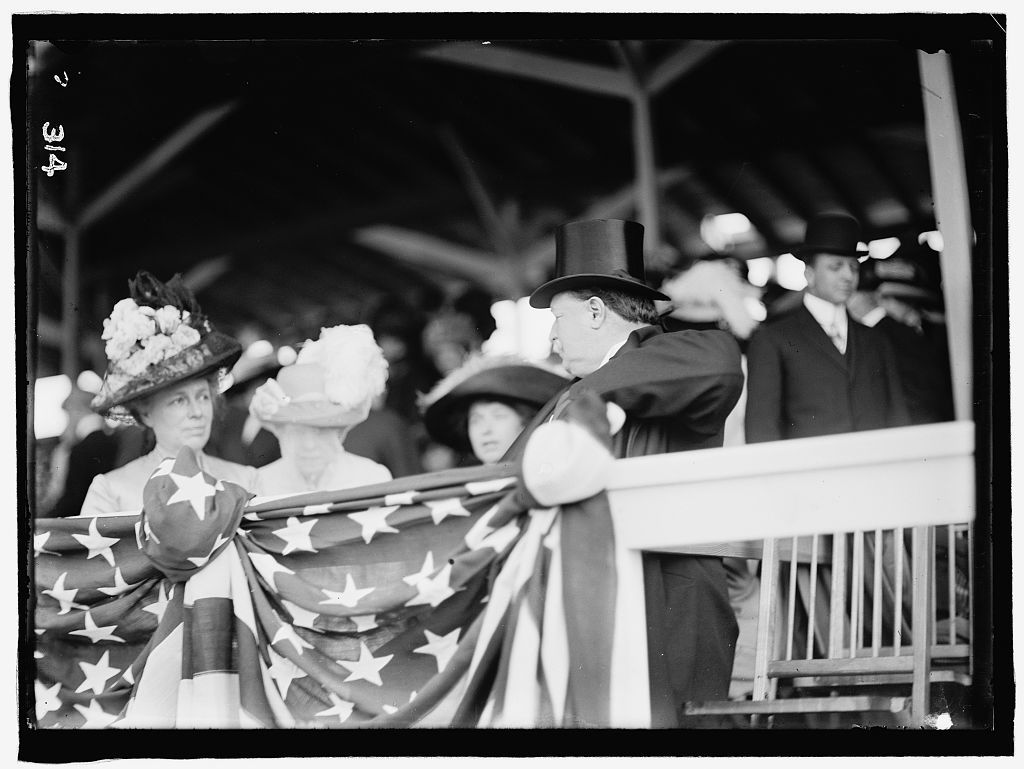 "[William Howard Taft and his wife Helen ""Nellie"" Taft at horse show]"