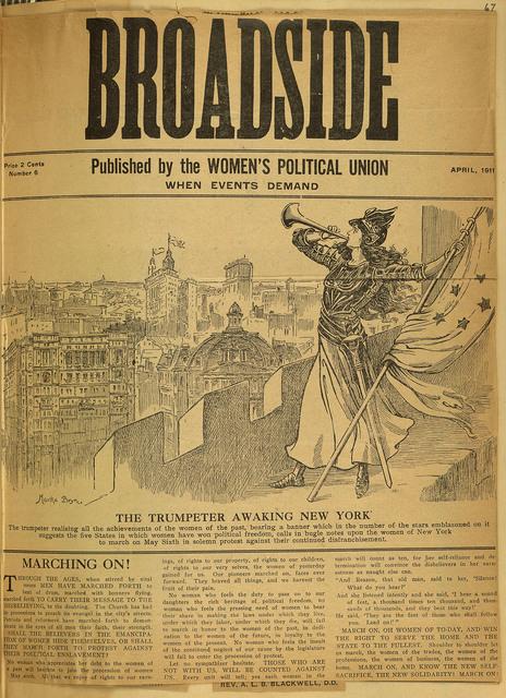 Women's Political Union Broadside: Trumpeter Awakening New York