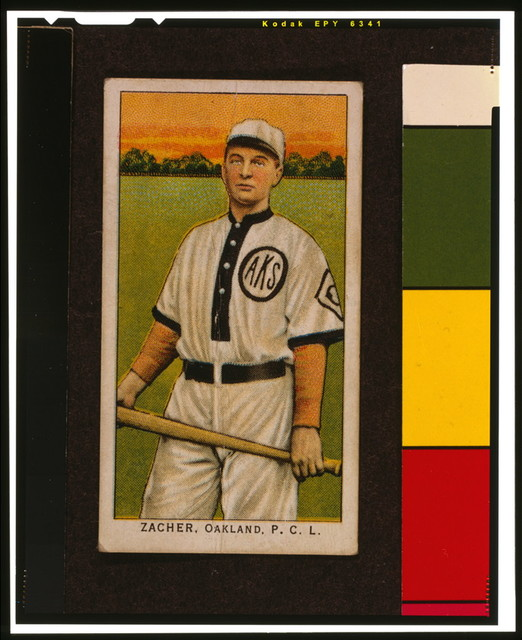 [Zacher, Oakland Team, baseball card portrait]