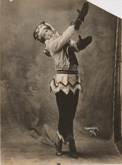 Photograph of Nijinsky in the title role of the ballet Petrouchka, 1911