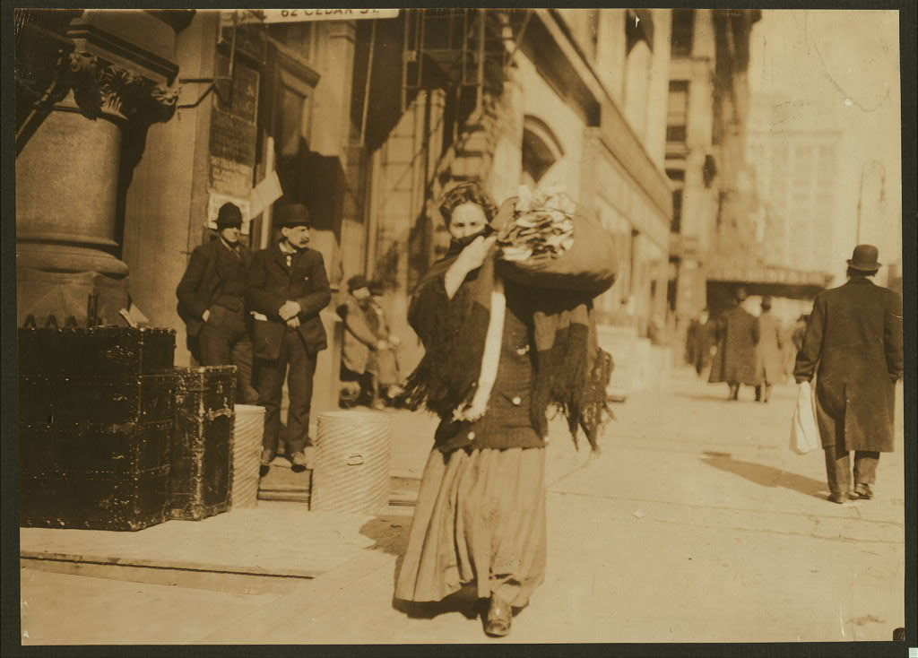 A bundle of home-work. Lafayette St., below Astor Pl., N.Y.  Location: New York, New York (State)