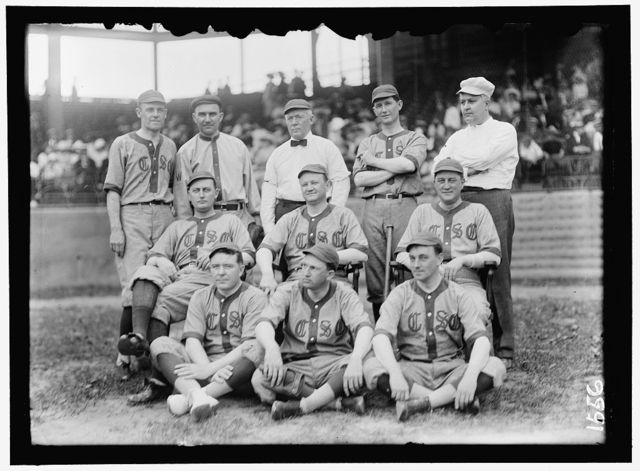 BASEBALL, CONGRESSIONAL. FRONT ROW: KINKEAD OF NEW JERSEY; PAT HARRISON; MURRAY OF MASSACHUSETTS. 2ND ROW: UNIDENTIFIED; EDWARDS OF GEORGIA; McDERMOTT OF ILLINOIS; REAR ROW: WHITE OF OHIO; UNIDENTIFIED; TOM REILLY OF CONNECTICUT; WEBB OF NORTH CAROLINA; RAUCH OF INDIANA