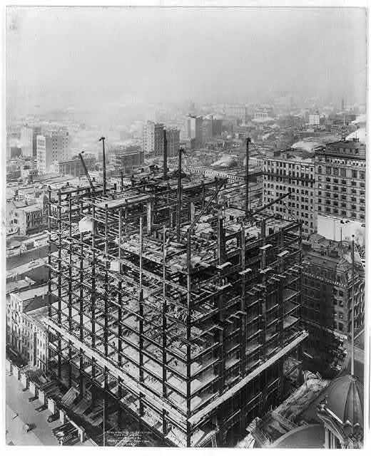 [Bird's-eye views of Woolworth Bldg, under construction, New York City]
