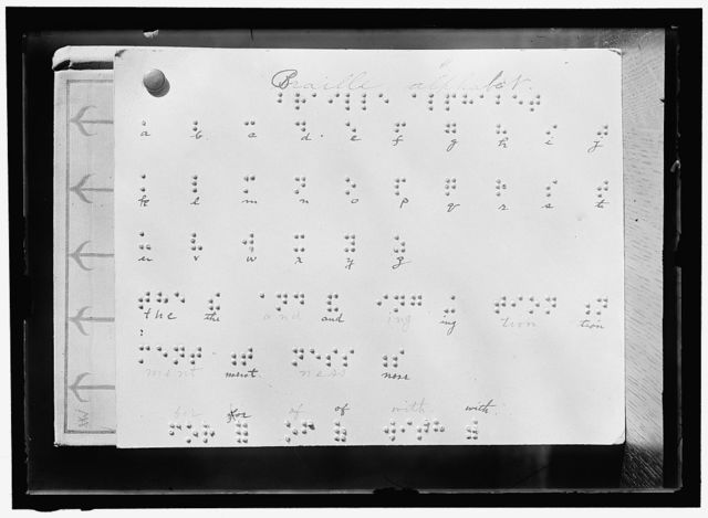BLIND, THE. BRAILLE ALPHABET AT LIBRARY FOR THE BLIND. INSTITUTE OF THE BLIND