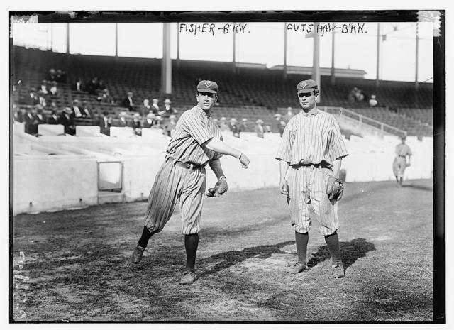 [Bob Fisher & George Cutshaw, Brooklyn NL, at the Polo Grounds, NY (baseball)]