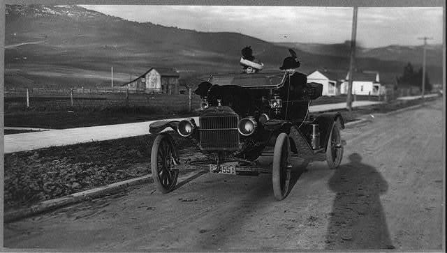 Boise (vicinity) (?), Idaho. 1911-12 (?). Ladies sitting in a Ford car