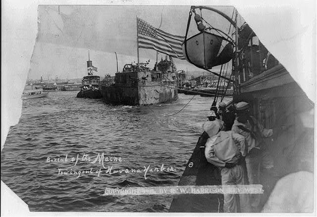 Burial of the Maine, towing out of Havana Harbor