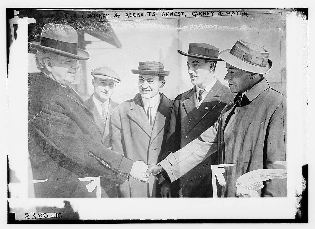 [C. Comiskey & recruits outfielder Wilfred H. Genest with catchers Thomas Carney & Wally Mayer (baseball)]