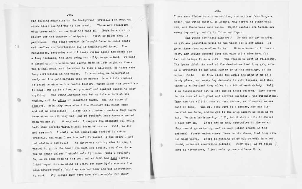 Carrie Chapman Catt Papers: Diaries, 1911-1923; Java, 1912, Apr. 5-July 1
