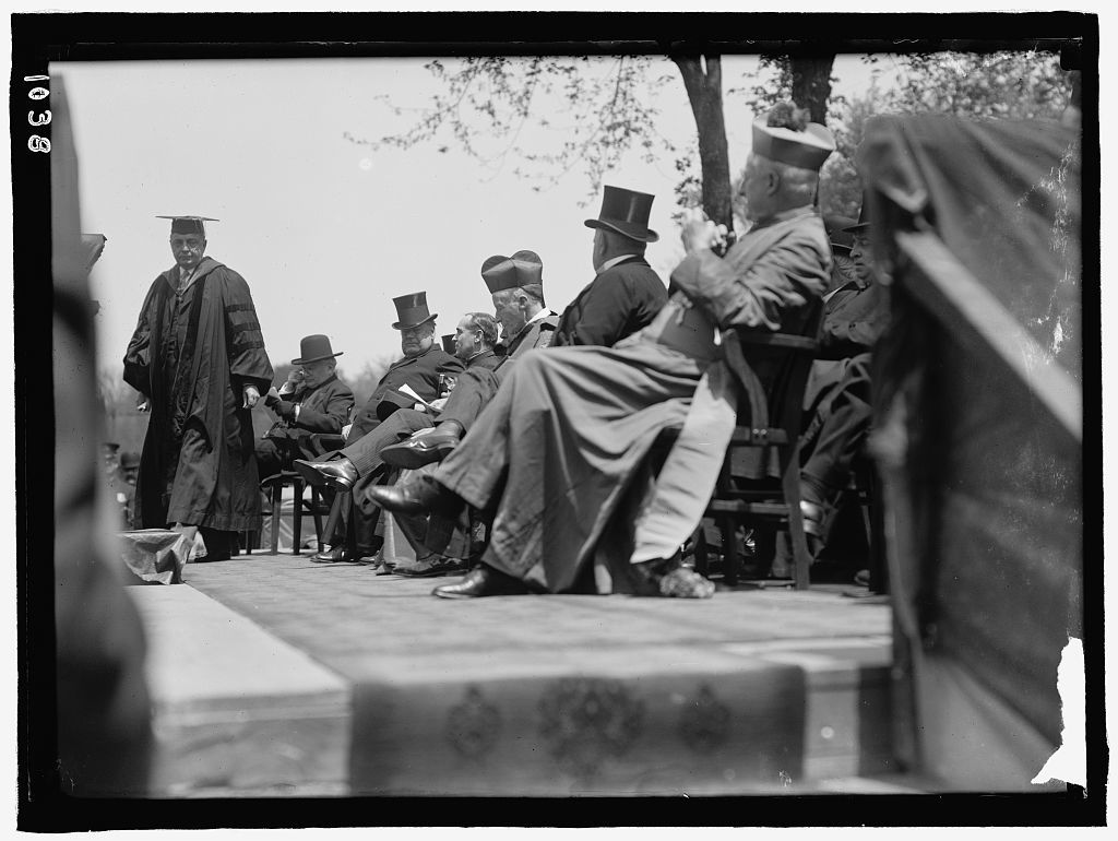 CARROLL, JOHN. STATUE AT GEORGETOWN UNIVERSITY, DEDICATED MAY 4, 1912. CHIEF JUSTICE WHITE AND CARDINAL GIBBONS AT DEDICATION