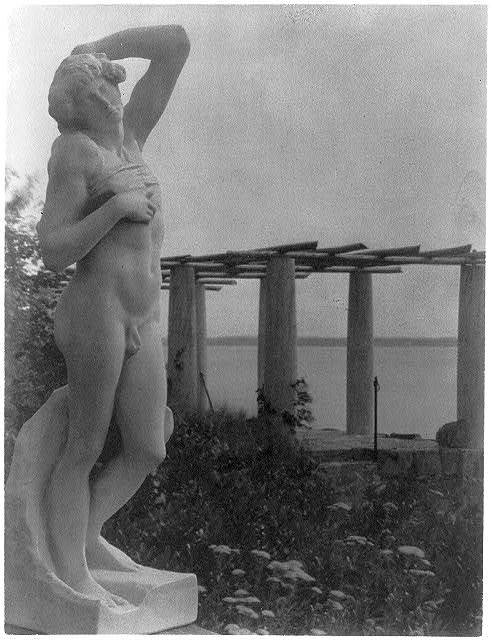 """[Cast of Michelangelo's """"Dying slave"""" with pergola in background, Little Good Harbor, ME.]"""