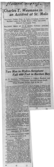 Charles T. Weymann in an Accident at St. Malo; and Two Men in Hydro-Aeroplane Fall 400 Feet in Raritan Bay [Herald, 25 August 1912]