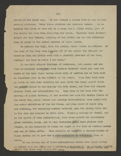 Clara Barton Papers: Addition, 1883-1926; Tributes, 1912, undated