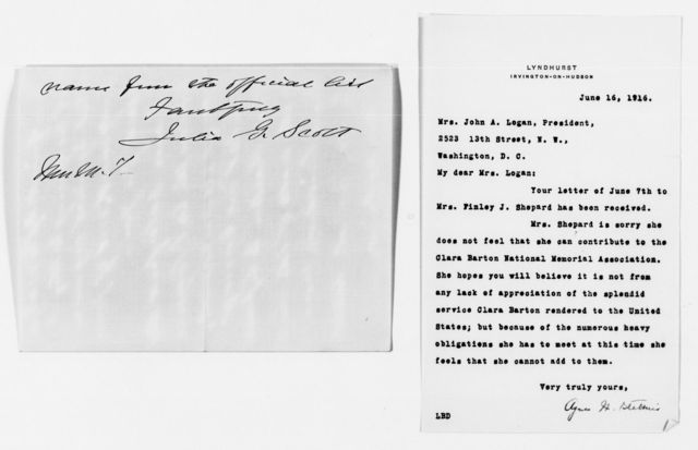 Clara Barton Papers: Miscellany, 1856-1957; Barton (Clara) Memorial Association; Logan, Mary S., correspondence, 1912-1917, undated