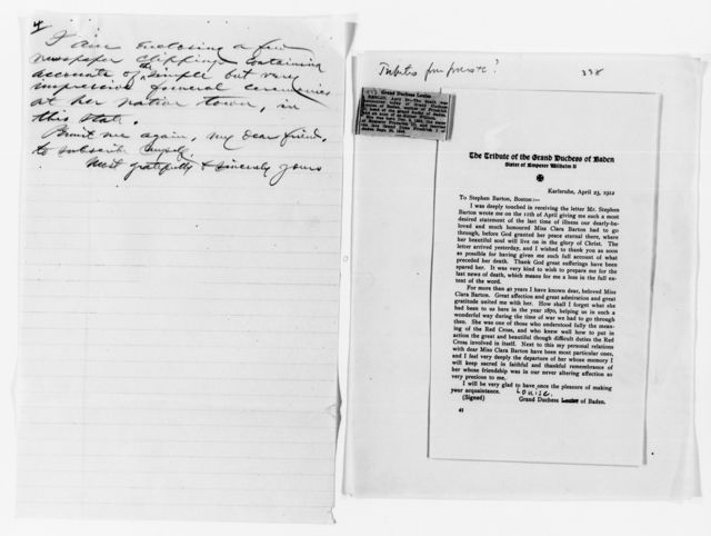 Clara Barton Papers: Miscellany, 1856-1957; Death and burial; Louise, Grand Duchess of Baden, 1912, undated