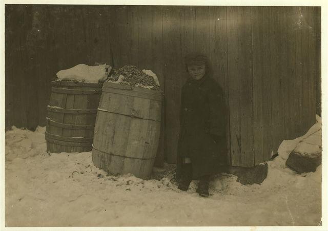 Cold Comfort in zero weather. New Bedford Mill settlement near Wamsutta Mill.  Location: New Bedford, Massachusetts.