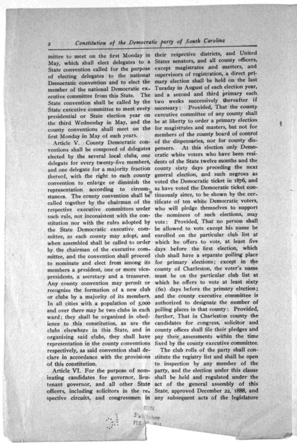 Constitution of the Democratic party of South Carolina as adopted in State convention at Columbia, S. C., May 15, 1912.
