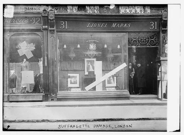 Damage by suffragettes, London, Mar. 1912, Bond St.