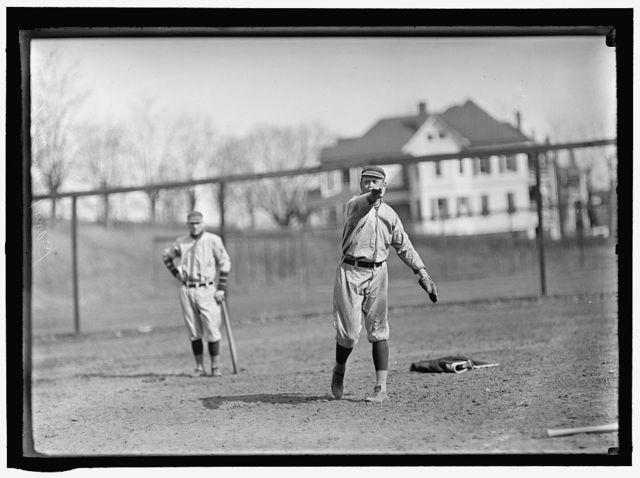 [Danny Moeller, throwing, plus unidentified player, Washington AL (baseball)]