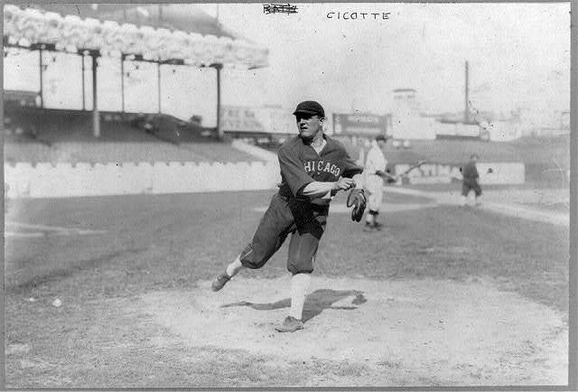 [Edward Victor Cicotte, baseball player for Chicago White Sox throwing ball]
