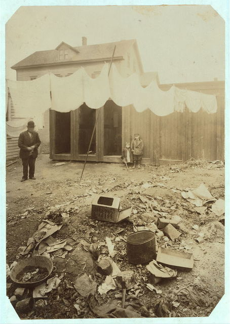 (For Child Welfare Exhibit 1912-13.) Back-yard and privies in terribly filthy condition, 76-78 Borden Street, Providence, R.I. Owners Wealthy.  Location: Providence, Rhode Island.