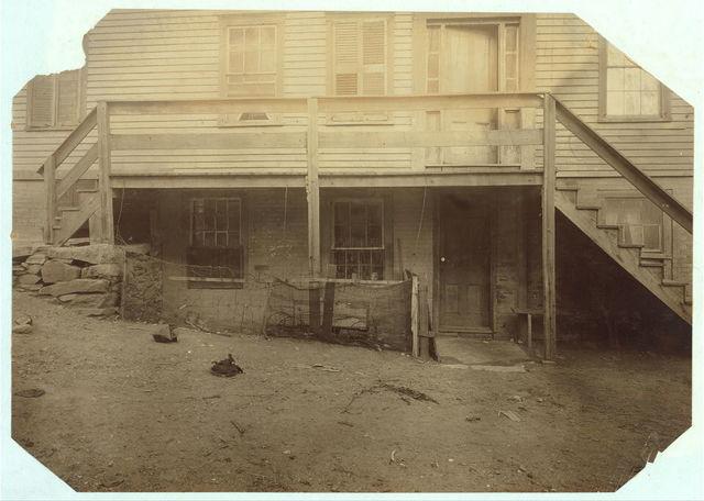 (For Child Welfare Exhibit 1912-13.) Basement Tenement, High Street, Central Falls, R.I.  Location: Central Falls, Rhode Island.