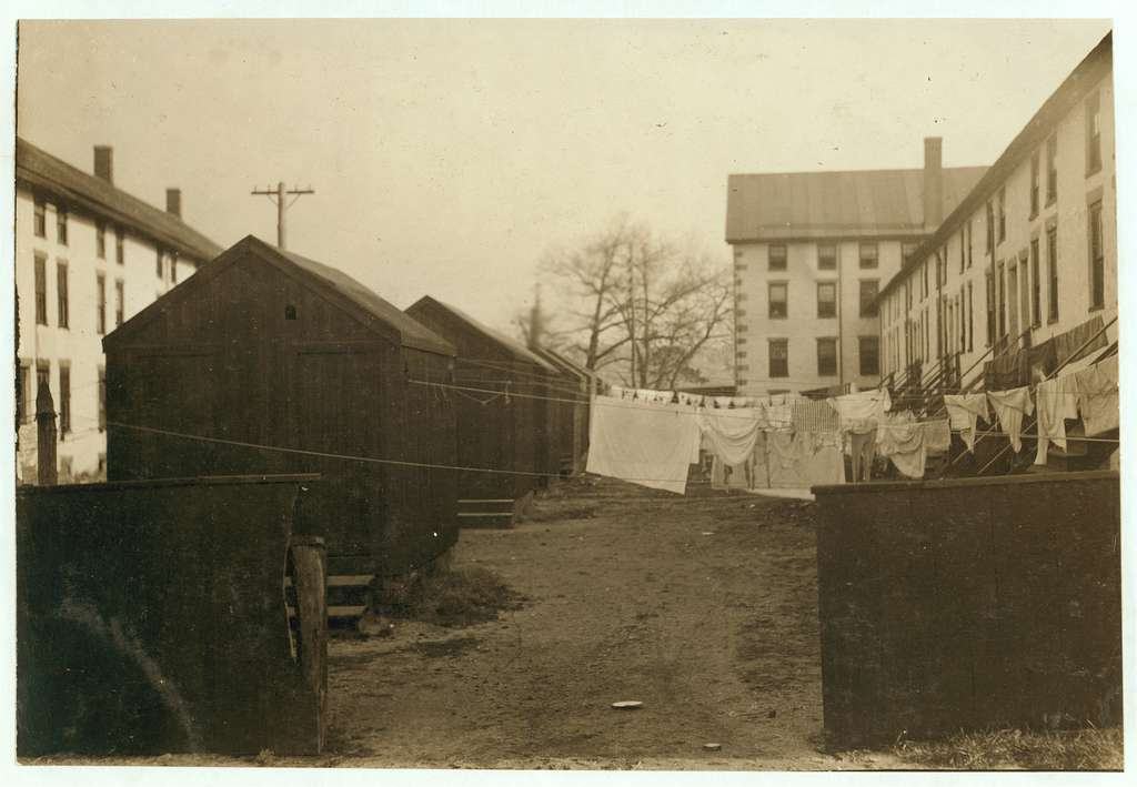 (For Child Welfare Exhibit 1912-13.) Privies and back-yards, Lonsdale, R.I. Location: Lonsdale, Rhode Island