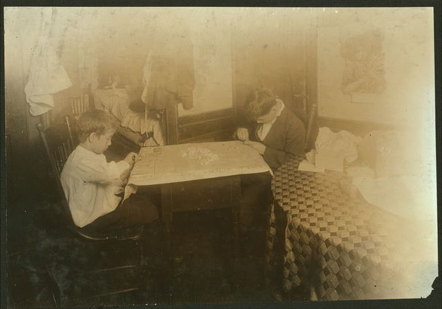 (For Child Welfare Exhibit 1912-13.) Setting stones in cheap jewelry, Ernest Lonardo, 11 years old, Thomas, 14 years old, 6 Hewitt Street, Providence, R.I.  Location: Providence, Rhode Island.