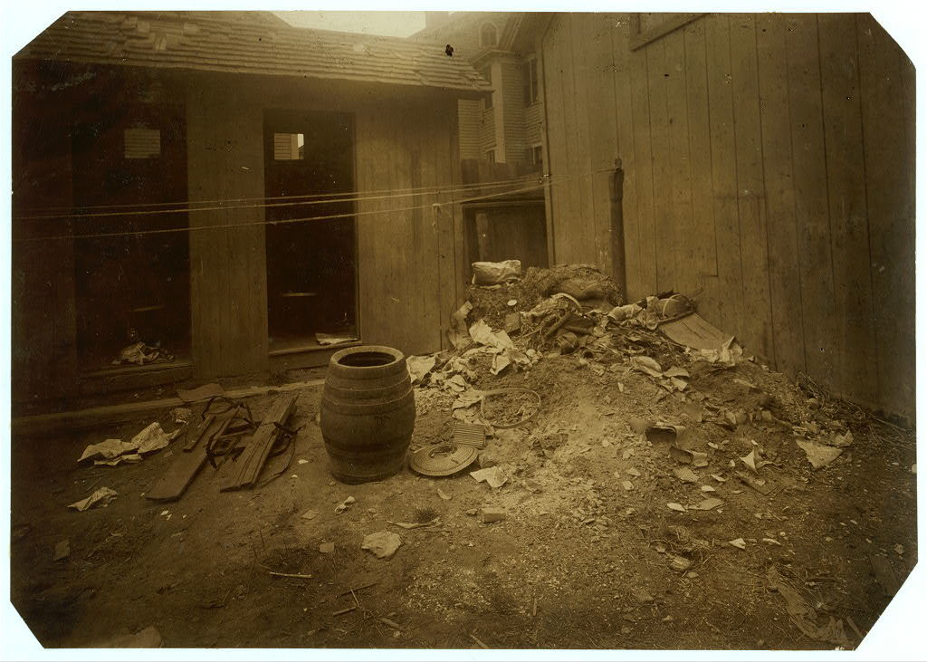 (For Child Welfare Exhibit 1912-13.) View of back yard, 70 Borden St., Providence, R.I.  Location: Providence, Rhode Island.
