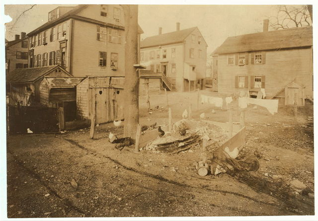 (For Child Welfare Exhibit 1912-13.) View of privies, garbage dumps, etc., in back yards near Bed-bug Alley and High Street, Central Falls, R.I.  Location: Central Falls, Rhode Island.