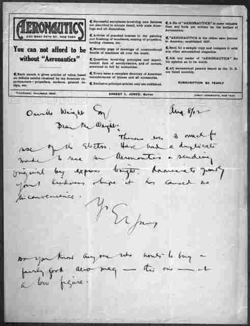 General Correspondence:  Jones, Ernest L., 1912