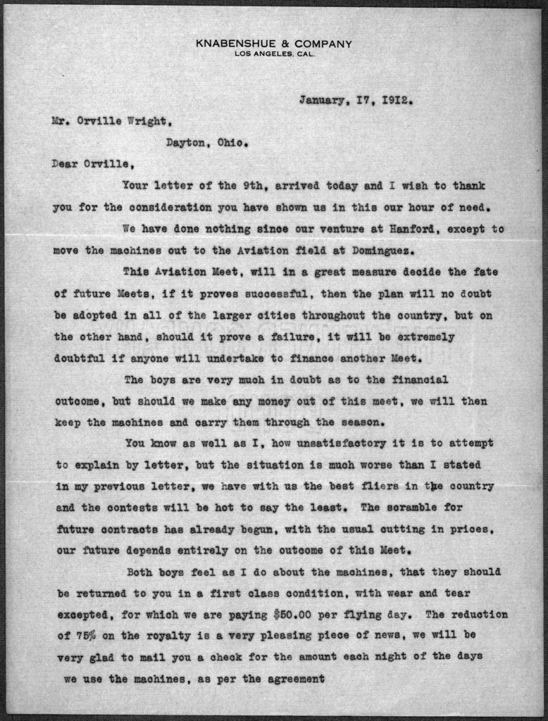 General Correspondence:  Knabenshue, Roy, 1912-1914