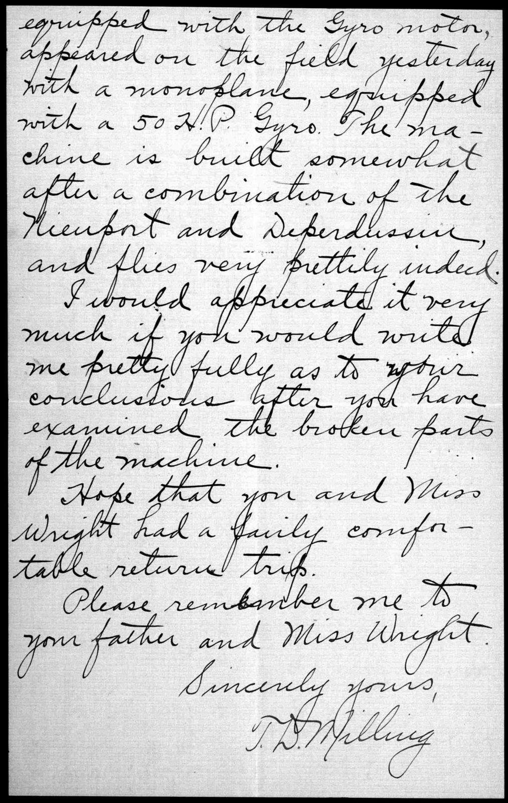 General Correspondence:  Milling, T. DeWitt, 1912-1916