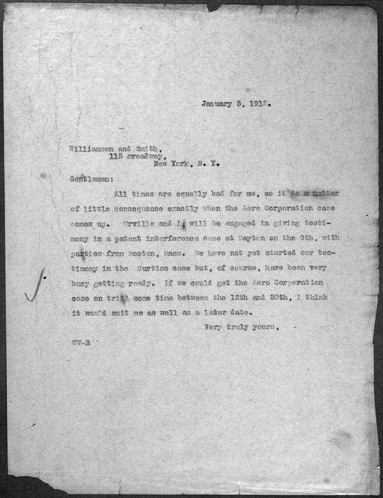 General Correspondence:  Williamson, Pliny W., 1912