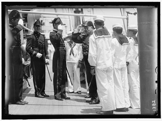 GERMAN SQUADRON VISIT TO U.S. REAR ADM. WARDAR ARRIVING ON 'MAYFLOWER'
