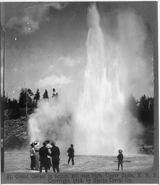 Grand Geyser in action, 200 feet high, Upper Basin, Y.N.P.
