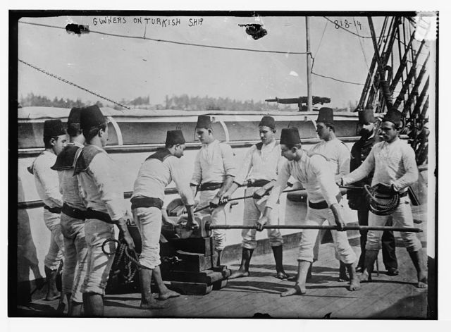 Gunners aboard Turkish ship, at posts