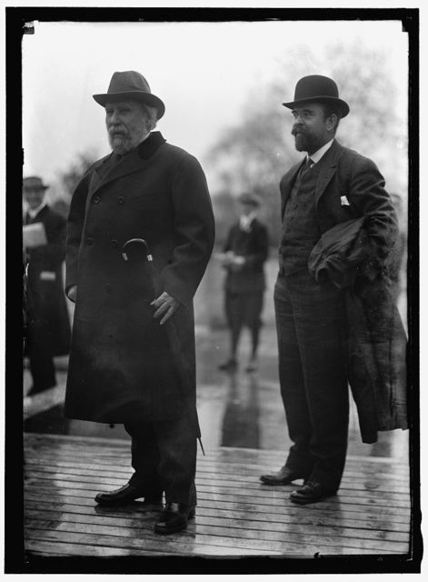 HILL, JAMES JEROME, PRESIDENT, GREAT NORTHERN RAILWAY. LEFT, WITH LOUIS W. HILL