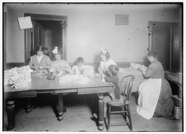 Home of Ansley Westover, rear of 8 1/2 Milton St., Worcester, Mass. Mother and children, 4 yrs., 8 yrs., 10 yrs., 11 yrs., and 12 yrs., earn about $4 to $5 a week. Work until 9 P.M. frequently and at times until 10 P.M. or midnight and then sometimes up working before school. (See also report) Photo at 5 P.M. Witness F.A. Smith.  Location: Worcester, Massachusetts.