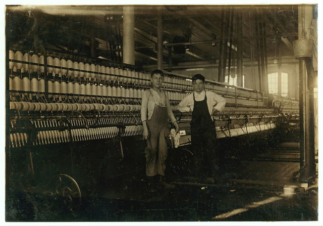 Interior Wamsutta Mill, Wilfred Pepin, 42 Bowditch St. (youngest boy, appears 13 yrs. old). Has been working a few weeks in Mule Room #4.  Location: New Bedford, Massachusetts.