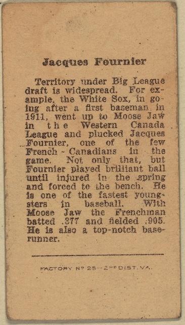 [Jaques Fournier, Chicago White Sox, baseball card portrait]